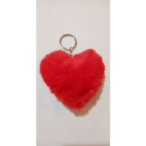 Piros szív plüss kulcstartó